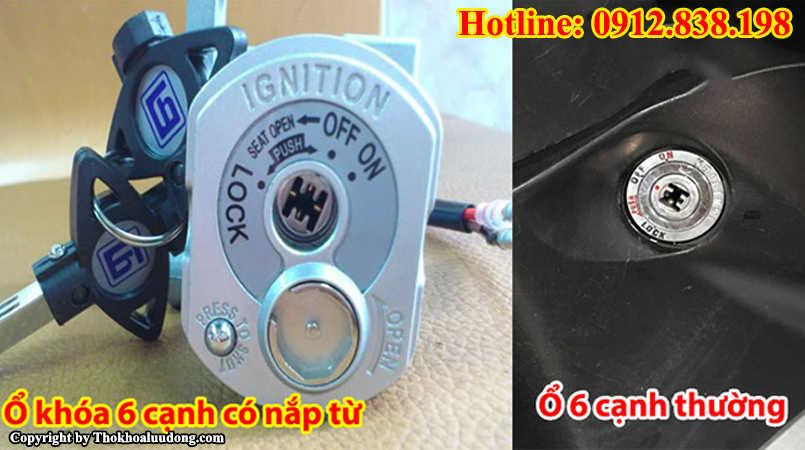 Ổ khóa xe máy chìa 6 cạnh hoặc chìa hình chữ H